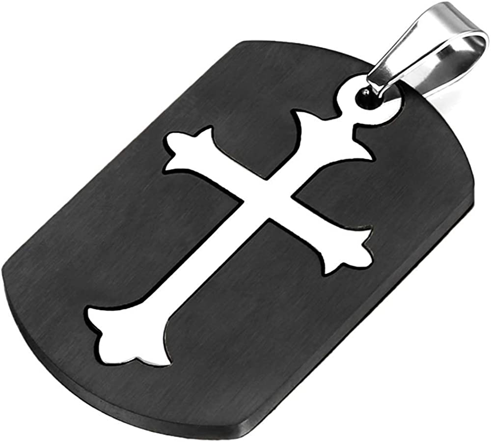 HAMANY Stainless Steel Mens Cross Dog Tag Pendant Necklace with 22 inch Chain