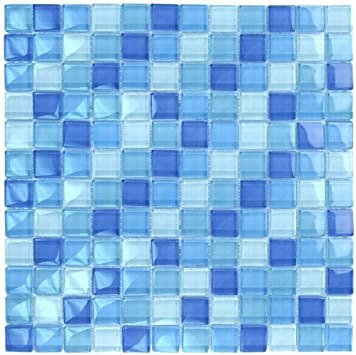 Turquoise Cobalt Blue Mosaic Glass Tile Blend 1 X1 For Bathroom
