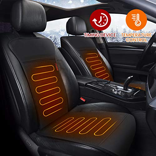 Audew Heated Car Seat Cushion, DC 12V Heated Car Seat Cover with Intelligent Temperature Controller & Timer Setting, 2019 Winter Universal Car Seat Heater for Full Back and Seat