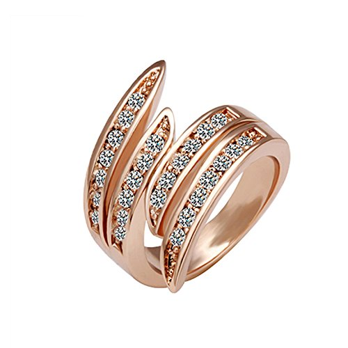Swirl Cocktail Ring (Naivo 18K Plated Cocktail Flame Ring, Rose Gold, 8)