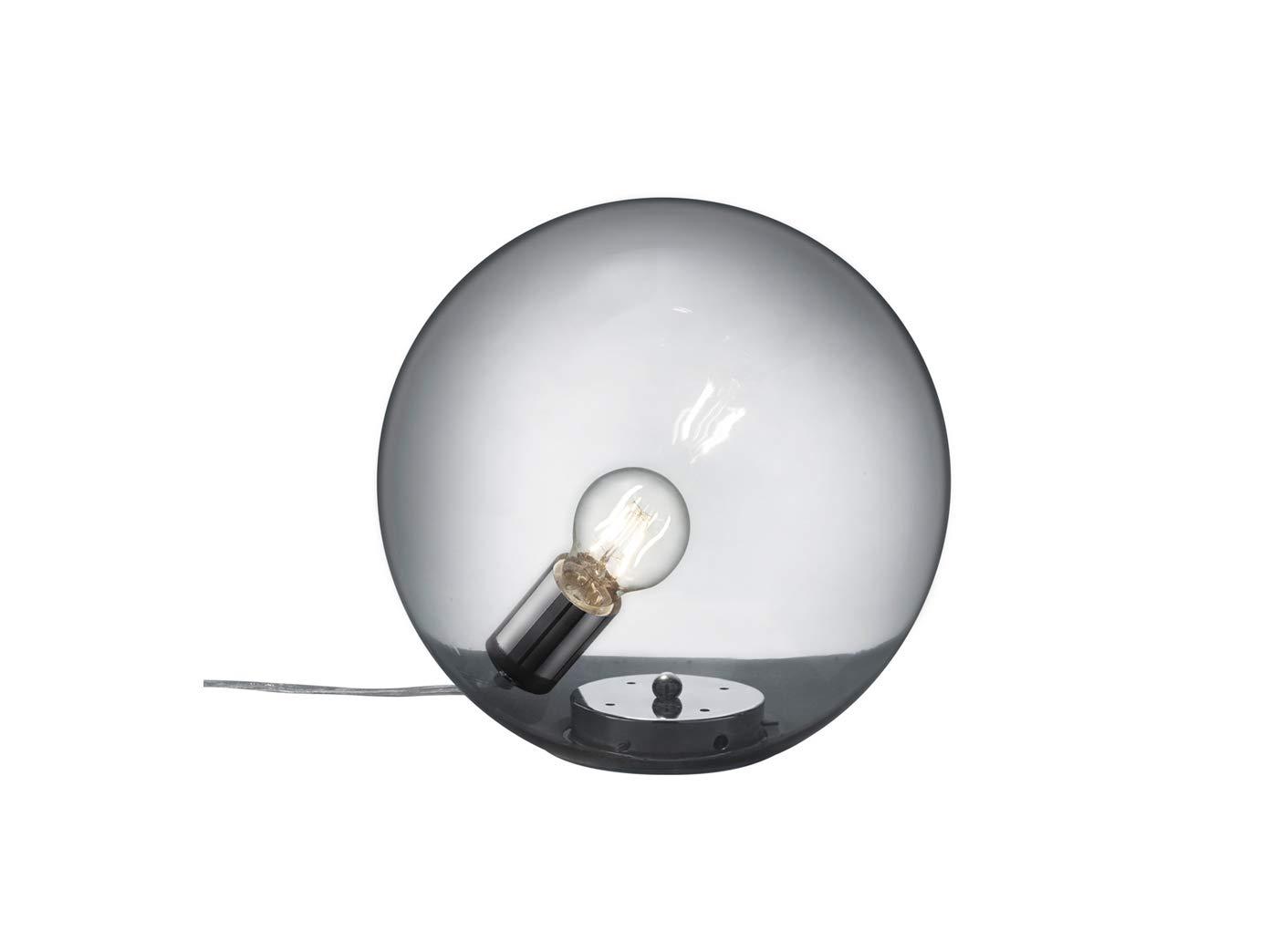 Elegante Glaskugel Tischleuchte MIDAS aus glänzendem glänzendem glänzendem Metall & rauchfarbigem Glas, tropfenförmig a65eac