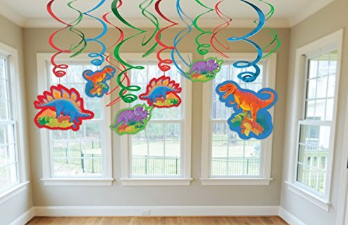 Dinosaurs ( Prehistoric Party ) Party Foil Hanging Swirl Decorations / Spiral Ornaments (12 PCS)- Party Supply, Party Decorations