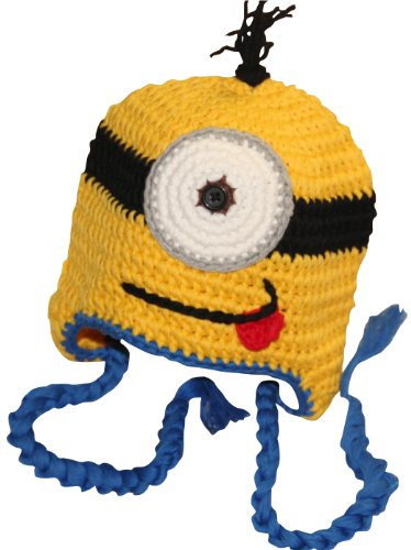 Hand Made Girl Boy Crochet Hat Knit Ski Cartoon Cap (Blue) - Cute Minion Costumes