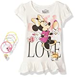 Disney Girls' Little 2 Piece Minnie Mouse Tee Shirt and Hair Accessories, OFFWH, 6