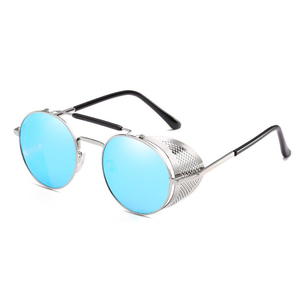 Kunfang Retro Round Steampunk Sunglasses Side Shield Goggles Gothic Sunglasses Men Women