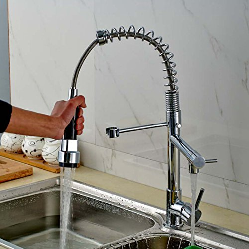 Kitchen Sink Faucet, Alotm Contemporary Brushed Nickel Stainless Steel Single Lever Pull Out Sprayer Kitchen Faucet, High Arch Multi-Angle Spring Pull Down Kitchen Sink Faucet