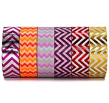 Chevron Odette Washi Decorative Masking Tape set - Purple, Gold, Red, Pink - For Art, Scrapbooking & Gift Wrapping by Washi.Design