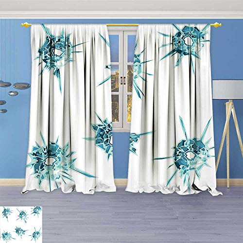 Crystal Astoria Clear (Design Print Thermal Insulated Blackout Curtain Charming Gems Crystal Like Diamonds with Spike Like Lights Image Teal Turquoise White for Living Room)