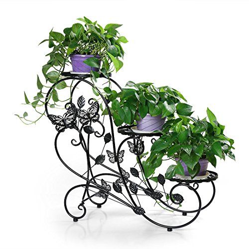 HLC Classic Plant Stand Shelf Holds 3-flower Pot Black ()
