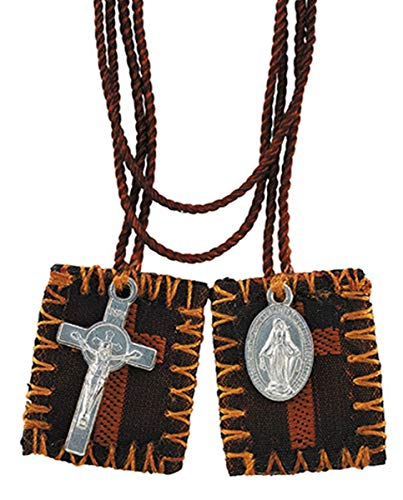Brown Cross Embroidered Scapular with Miraculous Medal and Cross, 15 1/2 Inch ()
