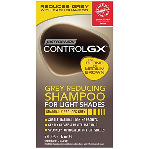 Just for Men Control GX Grey Reducing Shampoo, Blonde & Medium Brown, 5 Ounce (Rinsing Out Hair Dye In The Shower)