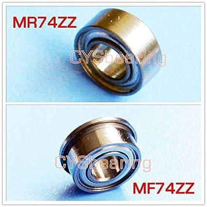 4mm*7mm*2.5mm 10 x MF74zz Mini Metal Double Shielded  Flanged  Ball Bearings