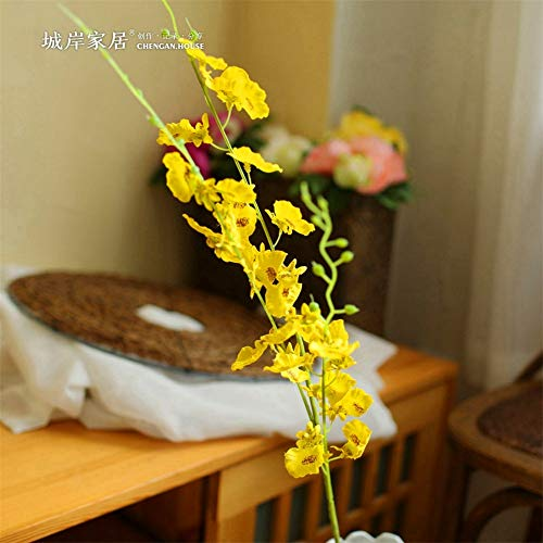ZJJZH Artificial Decorative Flowers Simulation Dancing Orchids Oncidium Yellow Fake Flower Blossoms Flowers Spring Flowers Set Wedding Home Decoration Flower Arrangement 100cm Artificial Flowers.