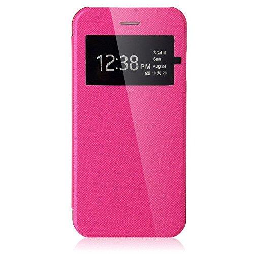 VSHOP ® Coque Flip Cover View Rose pour Apple iPhone 6 / 6S - Coque Housse Etui Case Protection Rabat Fenetre Ultra Slim