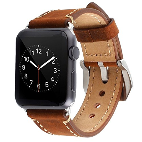Apple Watch Band, 42mm iWatch Strap Premium Vintage Crazy Horse Genuine Leather Replacement Watchband with Stainless Metal Clasp for All Apple Watch S…