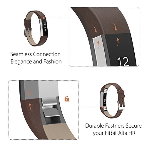Henoda Leather Bands for Fitbit Alta,Alta Strap Style (Tan)