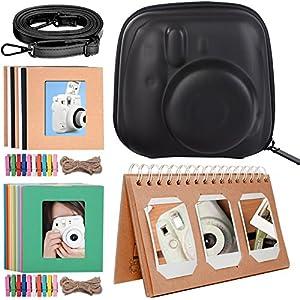 Katia Camera Accessories for Fujifilm Instax Mini 9 or Mini 8 Instant Film Camera - Fuji Case Smokey White with Strap, Photo Album, Frame, Selfie Len, Filters, Stickers & more.