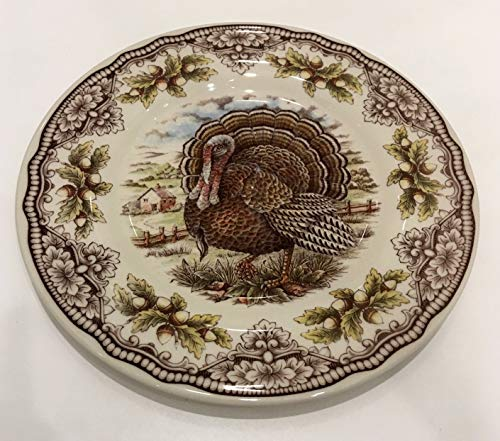 (Victorian English Pottery Turkey Thanksgiving Salad Plate (1) Replacement Piece | Approx. 8.5
