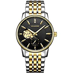 VEADONS Men's Gold and Black Luminous Two-Tone Stainless Steel Link Bracelet Mechanical Watch