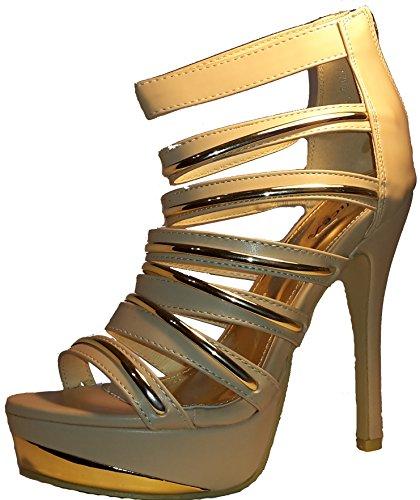 Sintético hohenlimburg Gold Beige Punta De 3 Material w Mujer Abierta FY1n5zHxq