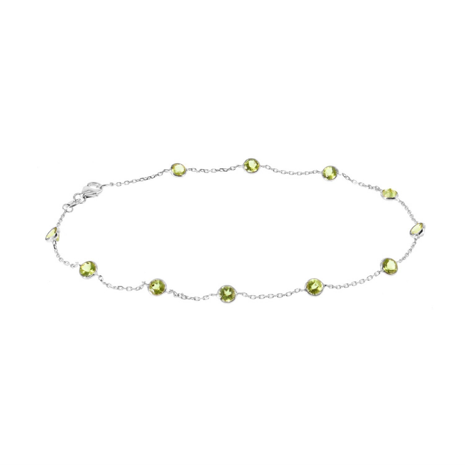 14k White Gold Handmade Station Anklet With Peridot Gemstones 9 - 11 Inches