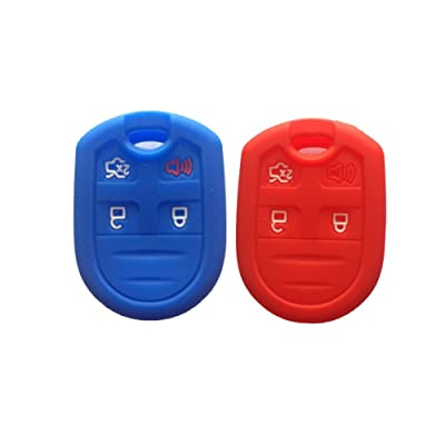 Red and Navy Blue Silicone Key Fob Case Cover Skin Key Jacket Keyless Smart Jacket Cover Protector for Ford Expedition F150 F250-350 LINCOLN Navigator: Automotive