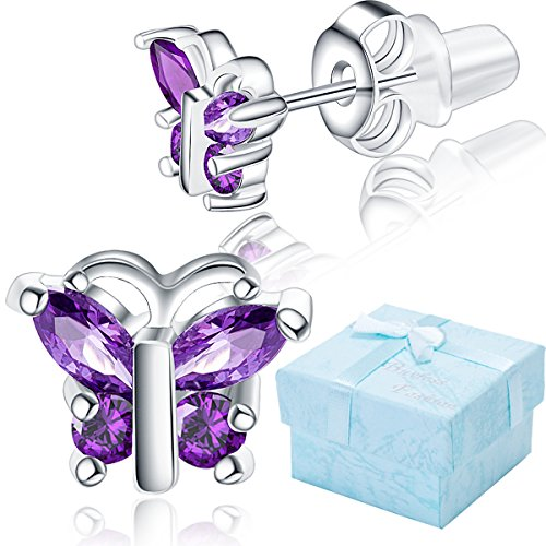 Buyless Fashion Surgical Steel Rhodium Plated Butterfly Shape Cubic Zirconia Birthstone Earrings-Febuary Butterfly (Childrens Butterfly Earrings)