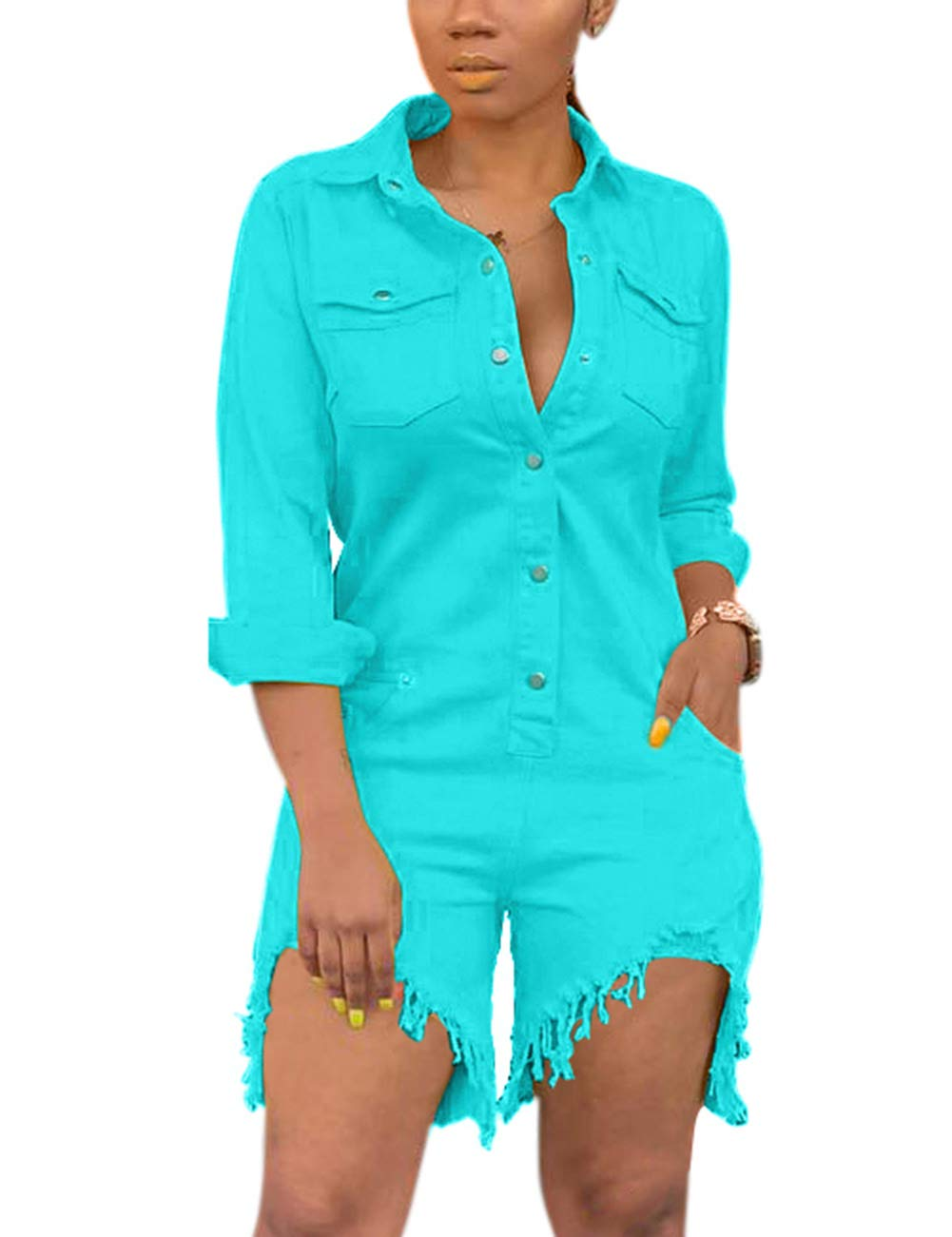 Desirepath Womens Solid Color Button Jumpsuits Long Sleeve Summer Short Rompers with Pocket Blue