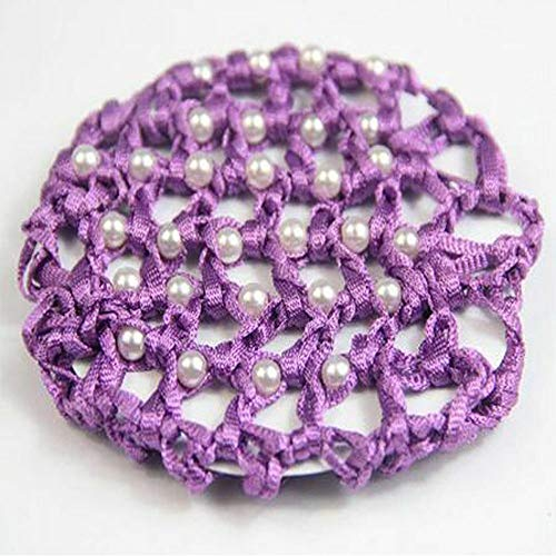MOPOLIS New For Women Crochet Snood Pearl Hair Net Mesh Bun Cover White Pearl | color - Purple