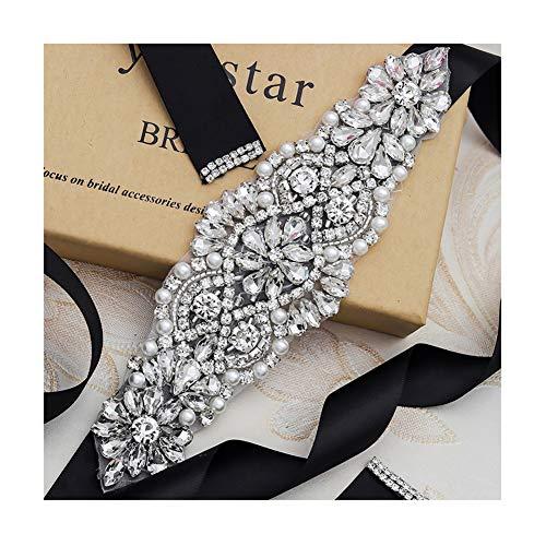 Yanstar Silver Crystal Beads Rhinestone Wedding Bridal Belt Sash With Black Ribbon For Wedding Dress