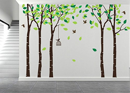 Yanqiao Big Forest Trees Wall Decal with Flying Birds Tree Background Stickers Nursery Removable PVC Wall Murals 70.9103.9""