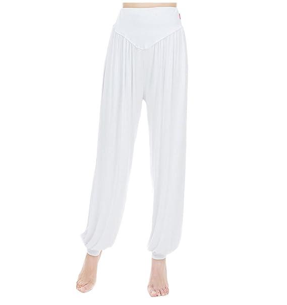 MESHIKAIER Mujer Casual Pantalones Elástico Harem Pantalones Bombachos Pantalones de Yoga Pantalones Aladin Pantalones Deportivo Ideal para 4 ...
