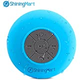 ShiningMart Bluetooth Speaker, Water Resistant Bluetooth 3.0 Shower Speaker, Wireless Portable Audio Hands-Free Speakerphone with Built-in Mic, Control Buttons and Dedicated Suction Cup (IPX4 Blue)