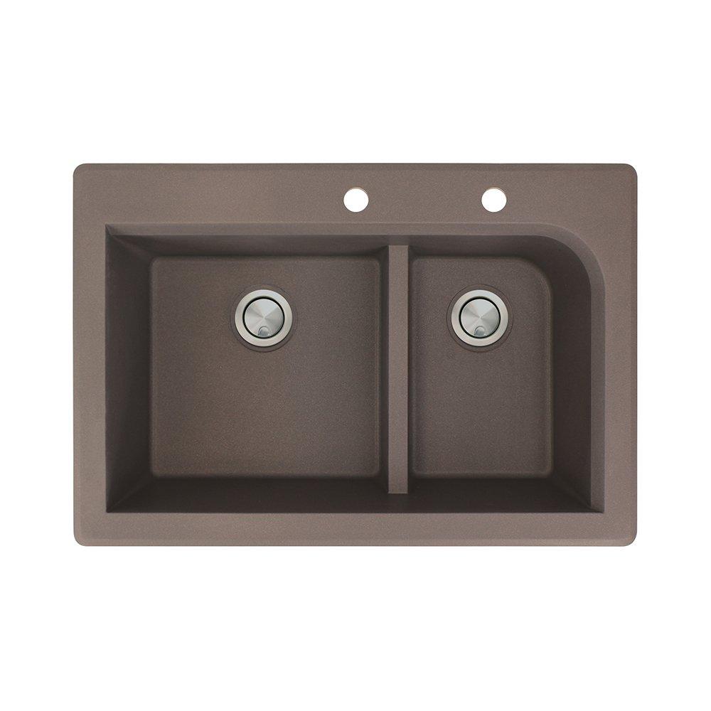Transolid RTDJ3322-12-CE Radius Granite 2-Hole Drop-in Double-Bowl Kitchen Sink 32-In x 19-in x 9-in Espresso