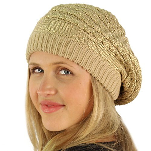 - Winter Warm 2ply Fleeced Lined Chunky Thick Beret Slouch Beanie Hat Cap