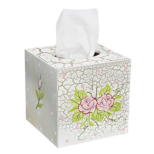 Fantasy Fields - Crackled Rose Thematic Tissue Box Cover | Imagination Inspiring Hand Crafted & Hand Painted Details   Non-Toxic, Lead Free Water-based Paint