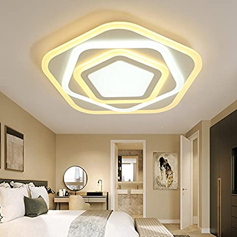Ultra mince polygone chambre chaleureuse lampe led plafond ...