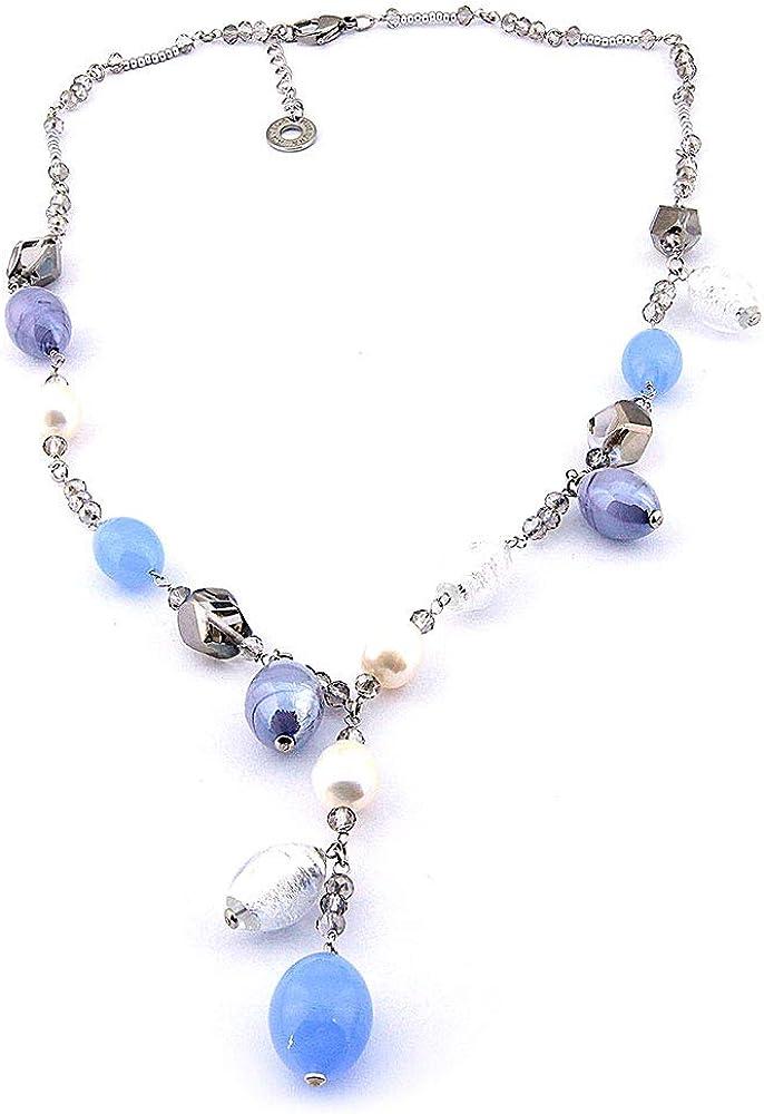 Antica Murrina Venezia Art. COB22A04 - Collar de Cristal de Colores y Perlas de río, colección Glow