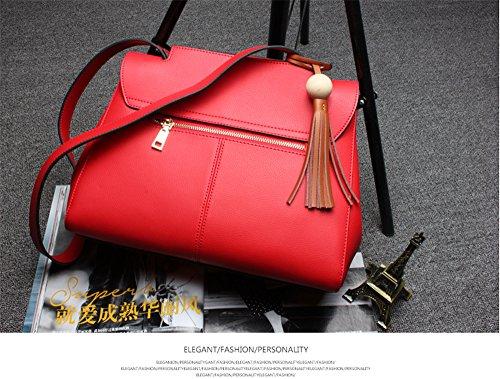 Bolsos de señora Xinmaoyuan Cowhide gran paquete de gran capacidad Bolso De cuero Otoño e Invierno Sección transversal de color sólido señoras bolso,rojo Rojo