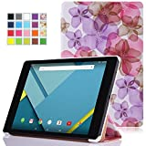 Google Nexus 9 Case - MoKo Ultra Slim Lightweight Smart-shell Stand Cover Case for Google Nexus 9 8.9 inch Volantis Flounder Android 5.0 Lollipop tablet by HTC, Floral PURPLE