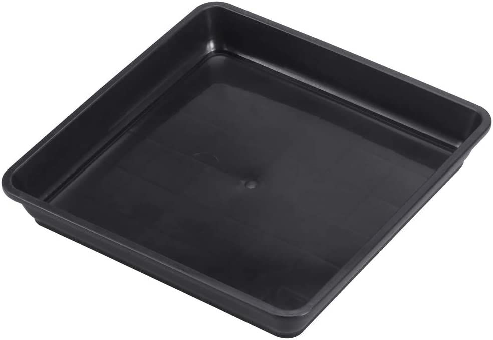 Yardwe 10 PCS Square Plastic Plant Saucer Tray Plant Pot Saucer Flower Pot Tray for Garden Potted Water Drips and Soil 5.9 x 5.9 x 1.1 Inch (Black)