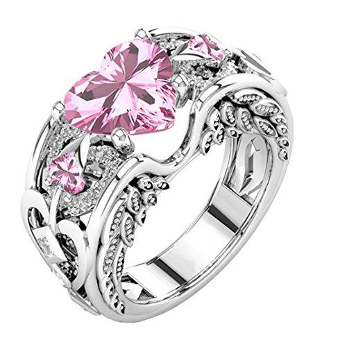 Sandistore Natural Ruby Gemstones Birthstone Bride Wedding Engagement Heart Ring (Pink, 8)