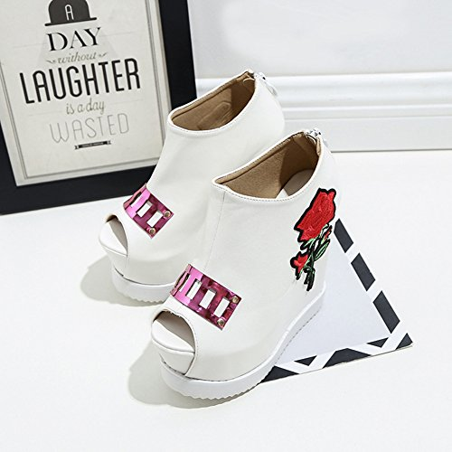 Easemax Womens Trendy Fiori Ricamati Peep Toe High Top Platform Zeppa Alta Scarpe Con Zeppa Scarpe Bianche