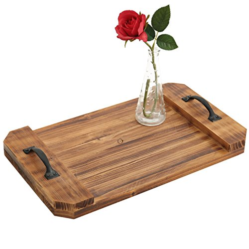 (Burnt Wood 19-Inch Decorative Serving Tray, Coffee Table Accent Platter with Metal Handles)