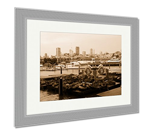 Ashley Framed Prints San Francisco Pier 39 View Of Buildings And Sea Lions USA, Contemporary Decoration, Sepia, 26x30 (frame size), Silver Frame, - Francisco 39 San Shops Pier