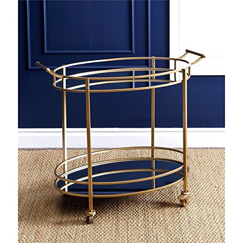 Hawthorne Collections Oval Round Bar Cart in Gold