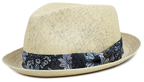 - Mens Summer Fedora Hat, Porkpie Stingy Brim, Mesh Breathable Straw Hat Floral Paisley Band (Natural, S/M)