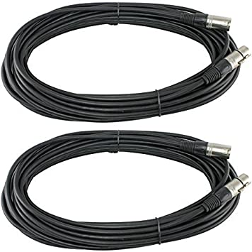 2 x 50Ft XLR 3Pin Male to Female Mixer Audio Cord Balanced MIC Microphone Cable
