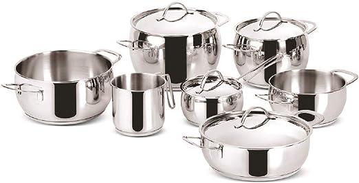 Amazon Com Idea Kitchen Euforia Lagostina Cookware 11 Pieces Inox 18 10 Bottom Induction Lagoseal Kitchen Dining
