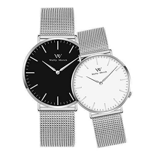 (Welly Merck Couple Watches Valentines Day Gifts for Her and His Pair Watch Swiss Quartz Movement 36 & 42 mm White & Black Dial Silver Mesh Interchangeable Watch Band 50M Water Resistant)
